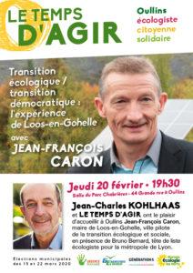 Tract p1 Jean-François Caron soutien Jean-Charles Kohlhaas et la liste Le Temps d'Agir pour Oullins