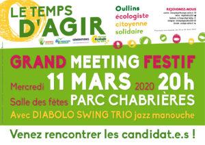 Affichette meeting Le Tems d'Agir à Oullins avec Jean-Charles Kohlhaas le 11 mars 2020