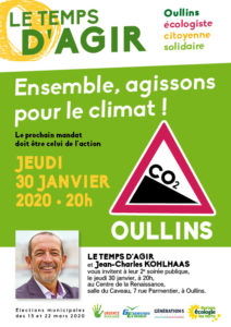 Tract p1 sur le climat de la liste Le Temps d'Agir pour Oullins avec Jean-Charles Kohlhaas